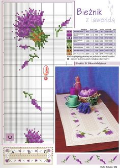 Lavender cross stitch pattern with key, used here for a table runner All on one page! Cross Stitch Borders, Cross Stitch Flowers, Cross Stitch Designs, Cross Stitching, Cross Stitch Patterns, Embroidery Art, Cross Stitch Embroidery, Embroidery Patterns, Coaster Design