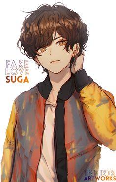 fanart by me V /taetae - BTS Do not using / repost / copy my artwork ! Bts Chibi, Bts Suga, Fanart Bts, Taehyung Fanart, Bts Art, Bts Anime, Kpop Drawings, Fake Love, Anime Kawaii