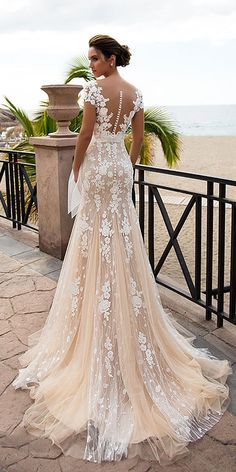 Nora Naviano Wedding Dresses For Charming Style ❤ nora naviano wedding dresses trumpet with cap sleeves floral blush ❤ Full gallery: https://weddingdressesguide.com/nora-naviano-wedding-dresses/ #bridalgown #weddingdresses2018 #wedding #bride