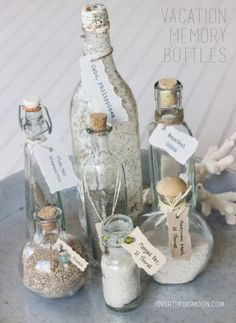 Mermaid Vacation Memory Bottles - bring home sand from your vacation and put them in jars, label them, and use different ways to tie them. #mermaids #finfun #mermaidtail #diy #beach #vacation