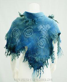 Handmade Felted shawl - Felted wrap - Nuno-felted scarf - Felt scarf - Blue scarf - Art scarves - Textile art wear - Swirls In The Sky