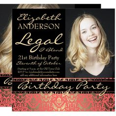 Legal and Blond 21st Birthday Party Invitation st#Birthday#Party#Shop Bridal Shower