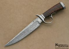 Bruce Bump Custom Knife Sole Authorship Damascus & Koa Ring Guard Fighter Engraved by Jere Davidson - Bruce Bump custom knife - image 1