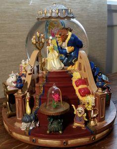 Walt Disney Beauty and The Beast Snow Globe w Music Box and Firelight C 1991   eBay