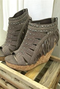 NOT RATED Frolic and Fringe Wedge- Taupe $65.99! #southernfriedchics