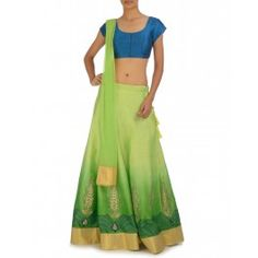Ombre Green Lengha Set with Teal Blue Blouse