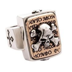 This sterling silver Skull crossbones ring shows off a crossbones raised design shining bright against gilded engraved plate. The sides are adorned with cross engraving Silver Skull Ring, Mens Silver Rings, Skull Rings, Silver Bracelets, Mens Rings For Sale, Rings For Men, Sterling Silver Cross, Sterling Silver Jewelry, Silver Samurai