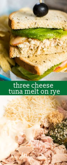 Looking for a quick lunch recipe? Try this flavorful 15-minute Three Cheese Tuna Melt. An easy tuna salad recipe with cheese on rye bread. easy sandwich recipe / best tuna salad recipe  via @tastesoflizzyt