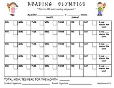Monthly Olympics Themed Reading Log