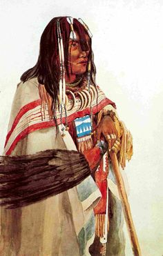"""A YOUNG KUTENAI WARRIOR"" - by Karl Bodmer (1809-1893) dressed in the fashion of the Mandans and Minnetarees. He wears two white blankets, one with a single broad blue stripe along the edge, the other with a pattern of broad and narrow stripes along an edge. This particular individual also wears glass beads in his hair and brass trade rings on his fingers. There appear to be brass buttons attached to the ends of his braids."