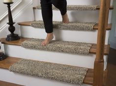"Caprice Beach Bum Bullnose Carpet Stair Tread with Adhesive Padding - 31"" Wide, 10"" Deep | Jet.com"