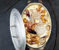 Découvrez la délicieuse recette de la blanquette de veau aux champignons et au bacon...