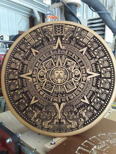 Aztec Mayan Calendar ~ 20 inch Diameter ~ Color Choice Gold Silver Copper Bronze ~ Home Decor ~ Wall Hanging ~ CNC V Carved ~ Engraved ~ Art Aztec Tattoo Designs, Aztec Tribal Tattoos, Mayan Tattoos, Aztec Empire, Aztec Calendar, Aztec Culture, Copper Art, Copper Penny, Engraving Art
