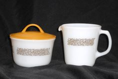 Pyrex Woodland Creamer and Sugar Set Corelle by ColectbleKtchns on Etsy