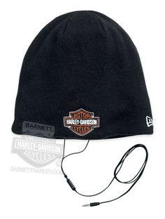 132344e82d78d Harley-Davidson® Mens BS Logo with Built-In Speakers Black Cotton Knit Cap