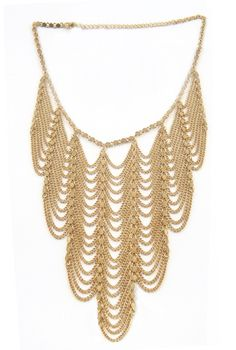 Scalloped Gold Statement Necklace