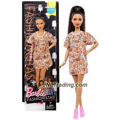 Mattel Year 2016 Barbie Fashionistas 11 Inch Doll - Hispanic PETITE with Long Black Hair in Style So Sweet Peach Color Dress with Bracelet