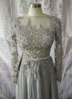 Silver Chiffon Skirt Bateau Neck Appliques Beadings by YAYIdresses