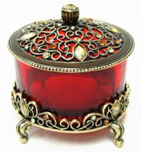 Passiflora Red Jeweled & Footed Trinket Box