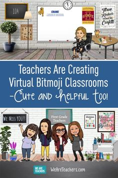 Teachers Are Creating Virtual Bitmoji Classrooms—Cute and Helpful Too! Looking for ideas of what to include in your virtual Bitmoji classroom? These teachers have posted a variety of fun elements. Online Classroom, School Classroom, Google Classroom, Flipped Classroom, Classroom Ideas, Music Classroom, People Reading, Classroom Background, Teaching Technology