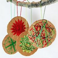 30 Homemade Ornament projects for kids - I like this for a simple string art idea.