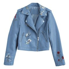 Floral Patched Zippered Faux Leather Jacket ($33) ❤ liked on Polyvore featuring outerwear, jackets, synthetic leather jacket, blue faux leather jacket, vegan jackets, fake leather jacket and blue jackets