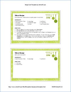 Recipe Card Templates For MS Word Class Book Silent Auction