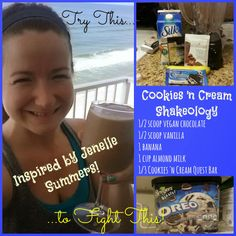 Healthy Recipe for Shakeology and fighting cravings!  I'm buying Quest bars ASAP!!!!!!!!!!!!!!!!