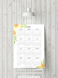 2018 Calendar Wall Art - 2018 Printable Calendar - with nice and bright watercolor yellow rosesPerfect for a gift for her or as a classroom decor by Amistyle Art Studio on Etsy 2018 Printable Calendar, Calendar Home, Printable Planner, Printable Wall Art, Calendar Wall, Printables, Watercolor Artwork, Watercolor Design, Watercolor Flowers