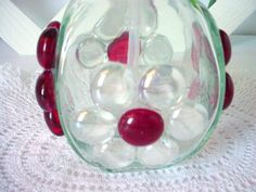 Red Beaded Dispenser Red Soap Dispenser Lotion by BuzyBeeBlooms