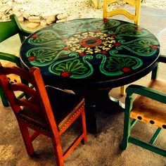 """Painted furniture, This patio set turned out amazing!!! It's one of my favorites!!! #paintedfurniture #oneofakind #functionalart"""" Photo taken by @paintingchick on Instagram, pinned via the InstaPin iOS App! http://www.instapinapp.com (06/04/2015)"""
