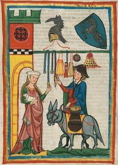 14th century (ca. 1300-1340) Switzerland - Zürich Heidelberg, Ruprecht-Karls-Universität, Universitätsbibliothek Cod. Pal. germ. 848: Große Heidelberger Liederhandschrift = Codex Manesse fol. 64r - Herr Dietmar von Aist http://digi.ub.uni-heidelberg.de/diglit/cpg848