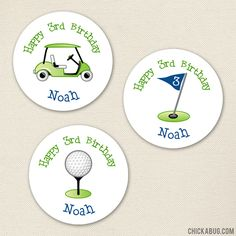Navy Golf Party Stickers - Sheet of 12 or 24. Stickers are perfect for party favors and decor!