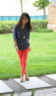Denim and Pink Pants