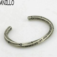 Men Viking War Bangle Simple Rude Vintage Silver High Quality Cuff Bracelets