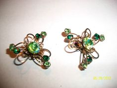 Vintage Costume Jewelry Green Rhinestone Clip On Earrings, Star burst