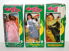 "Vintage 1974 Dorothy Toto Scarecrow Glinda The Good Witch 8"" Dolls in Boxes 