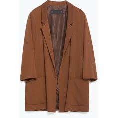 Zara Loose Fit Blazer (260 SAR) ❤ liked on Polyvore featuring outerwear, jackets, blazers, blazer, coats & jackets, light brown, brown jacket, lined jacket, zara blazer and zara jacket