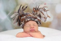 """Newborn Woolly Sac Hat in """"Granite"""". I knitted up the yarn that was spun by me:)   Image by Chanda Muise of Baby Rock Photography"""