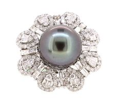 Ring (210) Round and Baguette Diamonds 2.97ct.tw Center Natural South Sea Pearl…