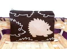 Mini Zipper Pouch / Small Zippered Pouch in Big Brown Hedgehog.