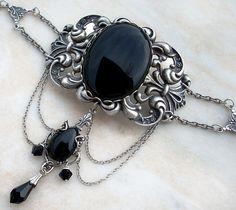 Black Gothic Jewelry Set Victorian Gothic Choker