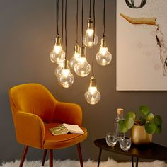 8 Gold Metal and Glass Bulb Pendant Watt Hallway Furniture, Sideboard Furniture, Dining Room Furniture, Living Room Chairs, Living Room Decor, Dining Sofa, Dining Room Bench Seating, Sun Lounger Cushions, Luxury Decor