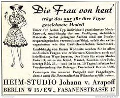 Original-Werbung/ Anzeige 1942 - MODE ENTWÜRFE / HEIM-STUDIO JOHANN VON ARAPOFF - BERLIN - ca. 65 x 55 mm