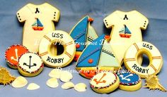 Nautical Baby Shower 24 Cookies by lorisplace on Etsy
