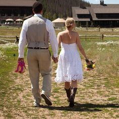 short wedding dress with cowboy boots | Wedding Shoes: Flashy Fuchsia and Wedding Boots - Comfortable Wedding ...