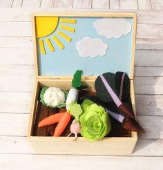 #SunnyFeltGarden, #VegetableGardenPlaySet, #GardenToy, #PretendFood, #FeltVeggies, #AcitivityBox, #GiftForKids, #ForAutism, #Ecofriendly Handmade Shop, Etsy Handmade, Handmade Items, Kids Room Design, Garden Toys, Creative Gifts, Wooden Boxes, Fun Crafts, Gifts For Kids