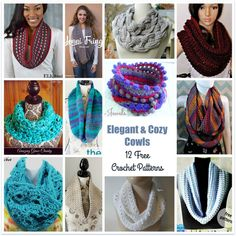 Elegant & Cozy Cowls - 12 Free Crochet Patterns - The Stitchin Mommy Crochet Round, Knit Or Crochet, Crochet Scarves, Crochet Shawl, Crochet Crafts, Crochet Clothes, Easy Crochet, Free Crochet, Crochet Projects