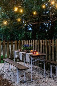 Quick weekend makeover that resulted in a DIY Hidden Backyard Beer Garden!