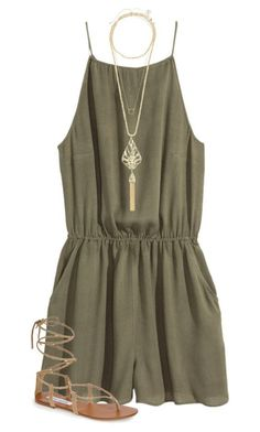 Stitch Fix inspiration 2018. Try Stitch Fix FREE for a limited time!!  Army green romper paired with leather strappy sandals. Perfect put together look for summer. Sign up for stitch fix today and get amazing pieces delivered straight to your front door by your own personal stylist. #stitchfix #fashiontrend #stitchfixinspiration